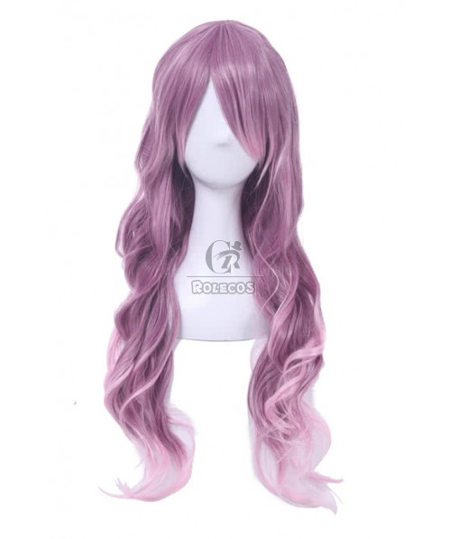 70cm Long Mixed Purple and White Curly Fashion Wigs