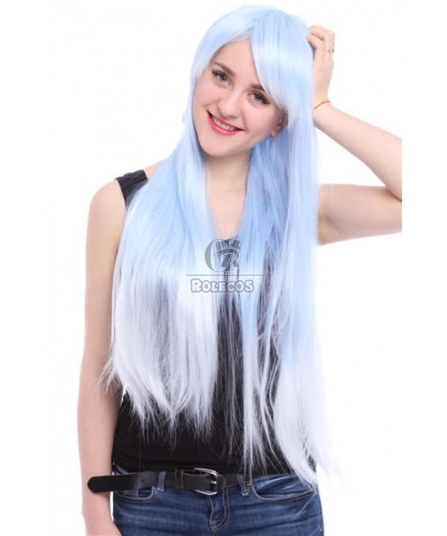 80cm Long Blue Fade White Straight Cosplay Wig