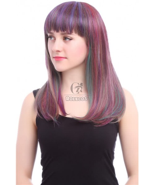 50cm Long Mixed Colored Straight Anime Cosplay Wig Fashion Hair