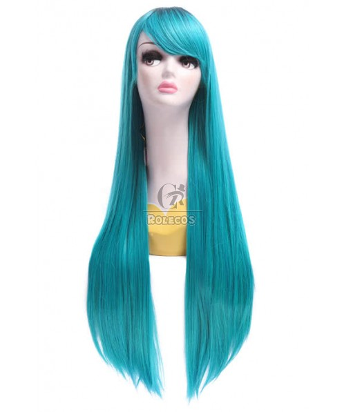 Women Long Straight Mixed Color Cosplay  Party Wigs 80cm Synthetic Wigs ZY196