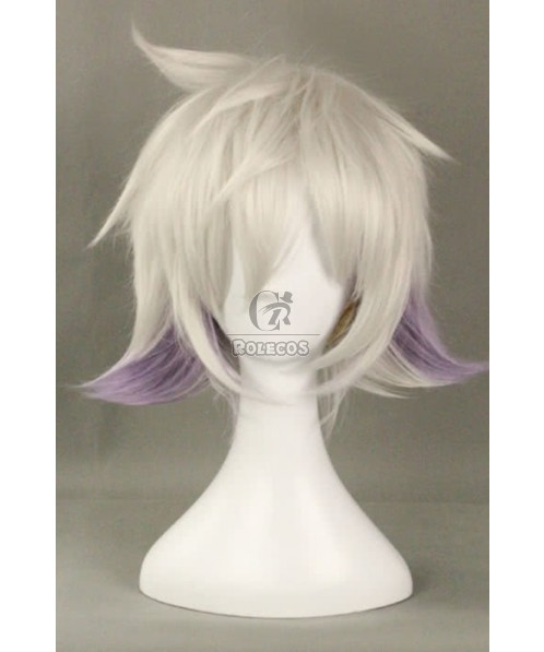 30cm Short Cosplay Wig Silvery Grey Mixed Light Purple Men Fluffy Synthetic Hair