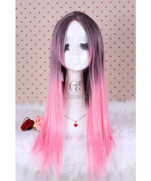 70cm Long Fashion Wig Charm Zipper Straight Mix Magenta Women Anime Cosplay Hair