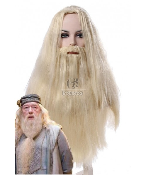 Albus Dumbledore Long Curly Silver White Movie Cosplay Man Wigs