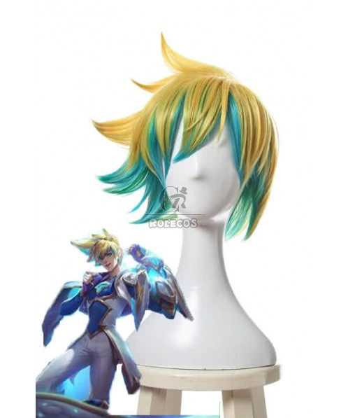 LOL Star Guardian Ezreal Short Golden Mixed Blue Game Cosplay Wigs