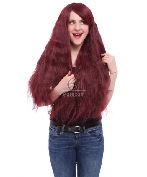 80cm Long Rhapsody Color In Wine Red Fade Curly Cosplay Hair Wig