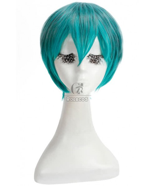 30cm short mix green straight cosplay party wig