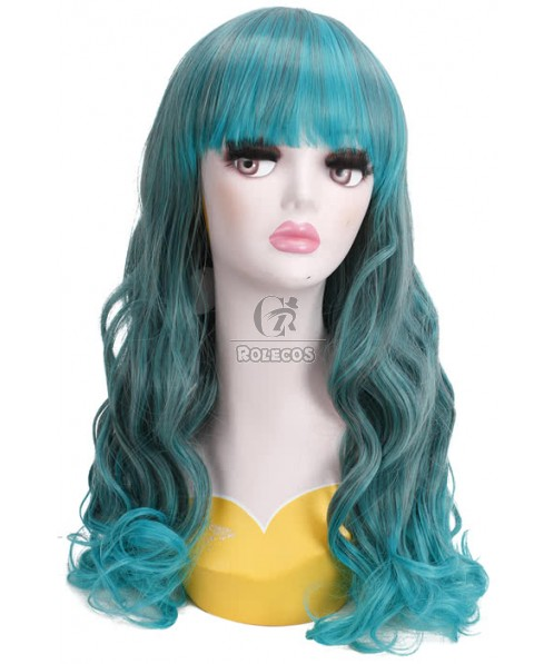 55cm Long Mix Green Wave Curly Cosplay Party Wigs