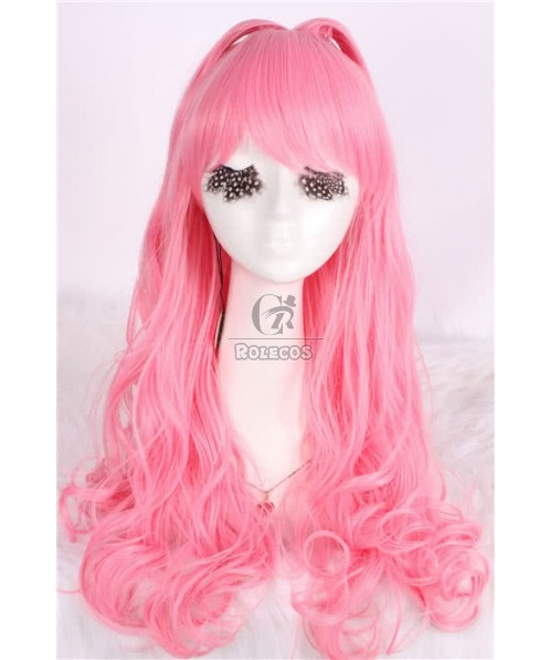 60cm Long Pink Cool Kitten Wave Cosplay Party Wig