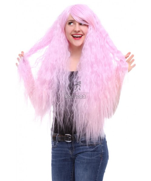 90cm Long Cosplay wig Rhapsody Lavender Fade to Pink Gradient Curly Wave hair