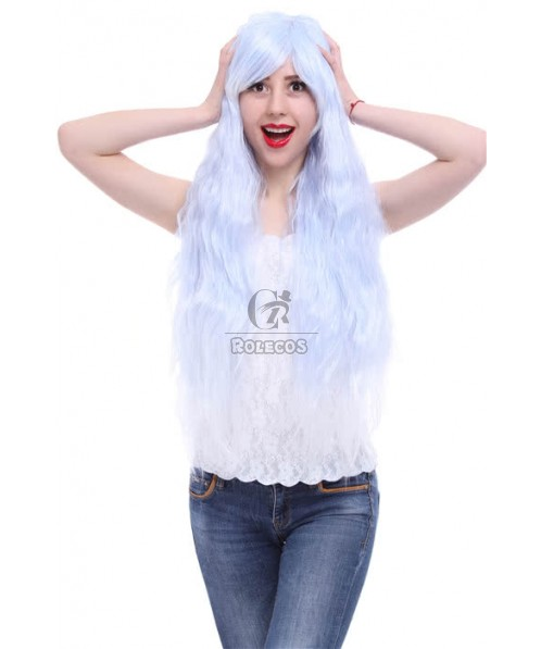 Fashion ladies  coaplay wig 90cm long Rhapsody sax blue fade to white curly wave hair