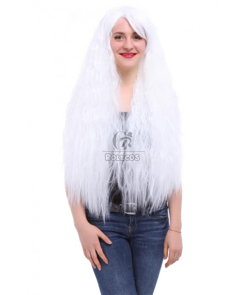 80cm Long Rhapsody White cosplay wig Curly Wave Anime Hair for women