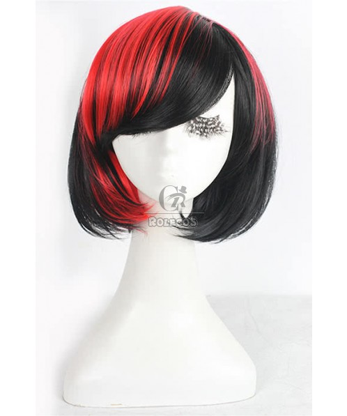 30cm Medium multi-color straight party cosplay wig 3 colors for celection