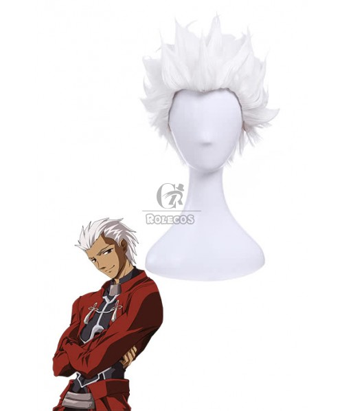 Fate/Stay Night Archer Cosplay Wig Short White Man Hair