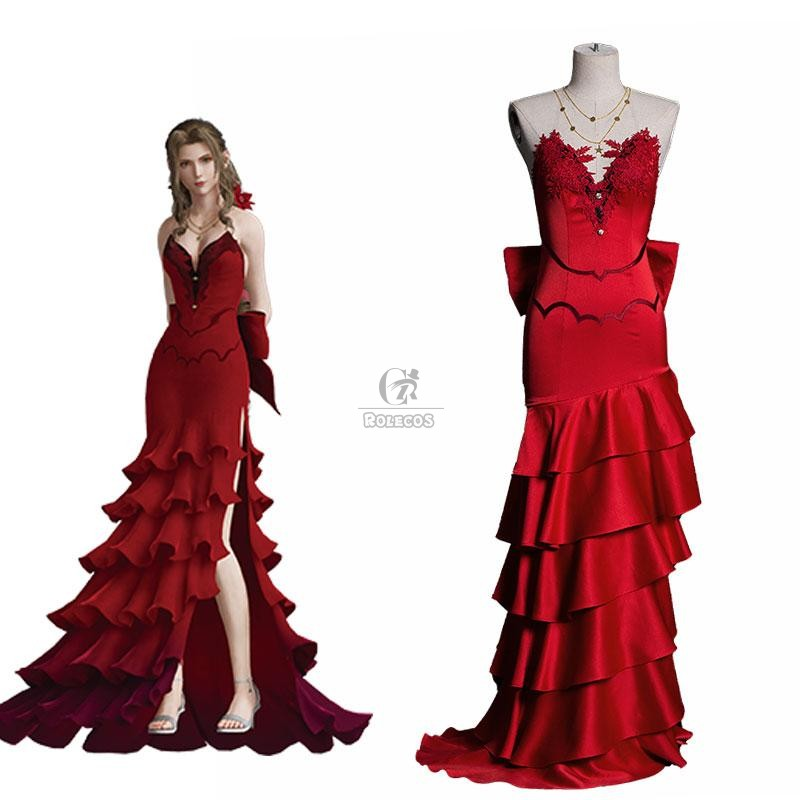 Buy Final Fantasy VII 7 Aerith Red Dress Cosplay Costume For Sale - RoleCosplay.com