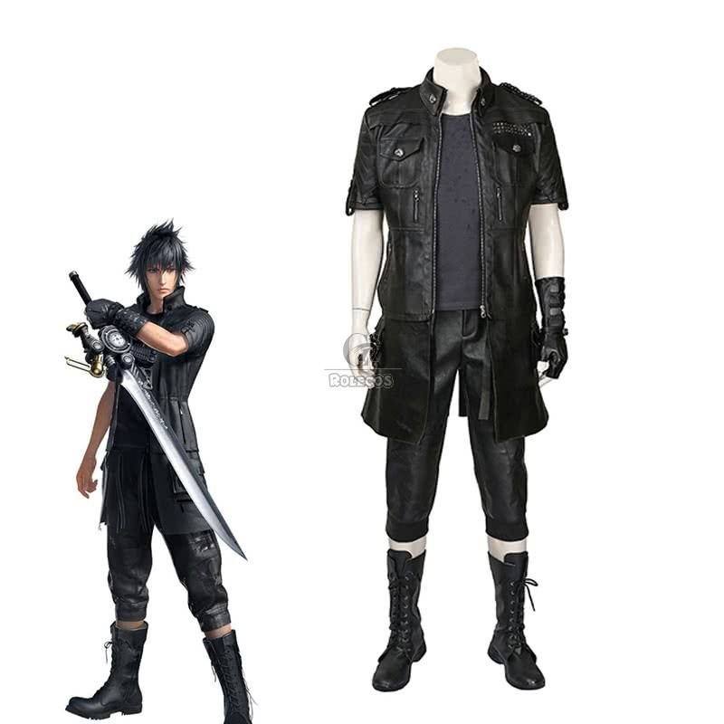 Buy Kingsglaive Final Fantasy XV Noctis Black leather Cosplay Costume For Sale - RoleCosplay.com