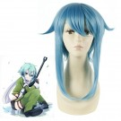 48CM Medium Sword Art Online Asada shino Blue Cosplay Wig
