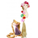 Long Blonde Cosplay Wigs Tangled Rapunzel Hair With Flowers