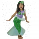 Green Children's Christmas Costume Little Mermaid Princess Dress