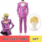 JoJo no Kimyou na Bouken Ougon no Kaze Giorno Giovanna Pink Full Set Cosplay Costume