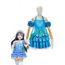 Love Live! Yume No Tobira Umi Sonoda Blue Mixed Green Anime Coaplay Dress