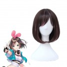 Youtuber  Kizuna AI Short Straight Brown Mixed Pink Cosplay Wigs