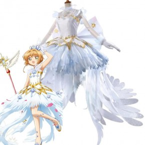 Cardcaptor Clear Card Sakura Sakura Kinomoto Ice Angel White Formal Dress Cosplay Costume