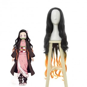 Demon Slayer / Kimetsu no Yaiba Nezuko Kamado Black Brown Long Wave Cosplay Wigs