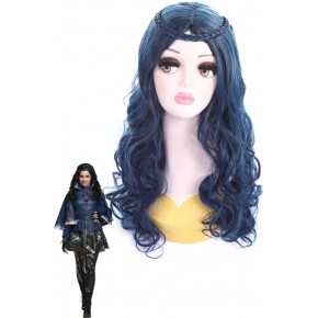 Descendants Evie Long Mixed Colored Curly Cosplay Wigs For Women