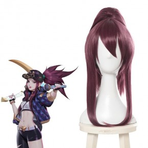 LOL KDA Akali Purple Ponytail Long Cosplay Wigs