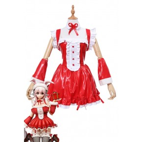 Super Sonico Christmas Suit Soft Leather Cosplay Costumes