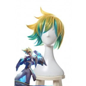 League Of Legends Star Guardian Ezreal Short Golden Mixed Blue Game Cosplay Wigs