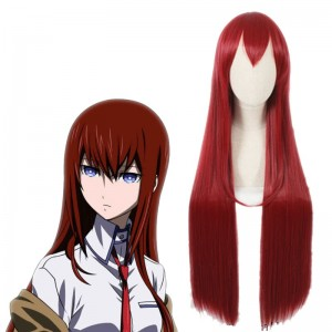 100 cm Long Steins;Gate 0 Kurisu Makise Anime Crimson Straight Cosplay Wigs