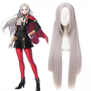 100cm Fire Emblem Three Houses Edelgard Silver Grey Long Cosplay Wigs