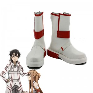 Sword Art Online Kirito Cosplay Shoes White and Red Shoes