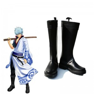 Handmade Gintama Sakata Gintoki Cosplay Shoes Black High Boots Custom-made