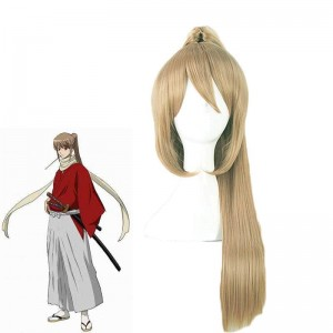 Gintama Okita Sougo Flax Brown Clip Ponytail Female Cosplay Wigs