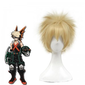 My Hero Academia Katsuki Bakugo Anime Cosplay Wigs Blonde Short Synthetic Hair Wigs