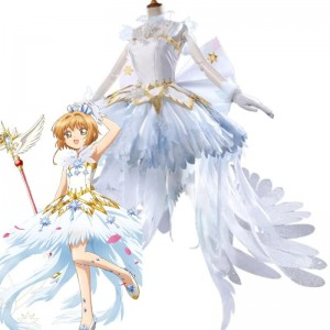 Cardcaptor Sakura Sakura Kinomoto Ice Angel White Dress Cosplay Costume