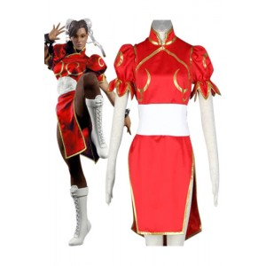 Street Fighter Chun-Li 4th Version Red Cosplay Costume