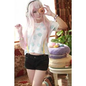 Super Sonico Summer Shorts Cosplay Costume