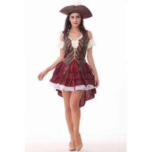 Peter Pan Pirate Girls' Red Dress Cosplay Costume