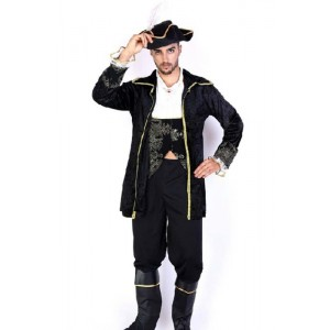 Pirate Of The Caribbean Black Cool Suit Cosplay Costume