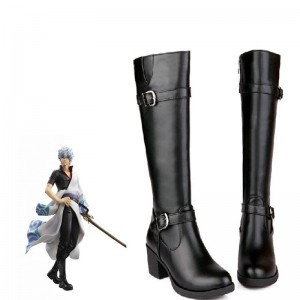 Gintama Silver Soul Sakata Gintoki Cosplay Shoes Black Female
