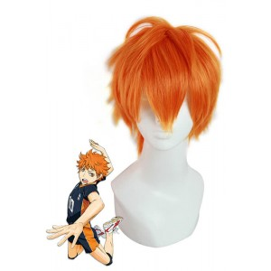 Haikyuu!! Hinata Syouy Short Bright Orange Man Hair Cosplay Wigs