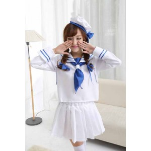 Super Sonico White And Blue Navy Sailor Uniform Cosplay Costume