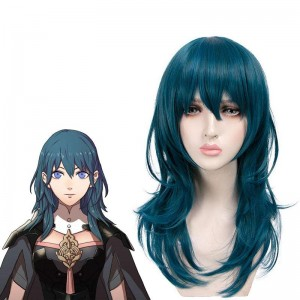 50cm Fire Emblem Three Houses Byleth Blue Long Cosplay Wigs