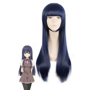 Bobo Bang Shione Togawa Long Straight Blue Black Female Cosplay Wig