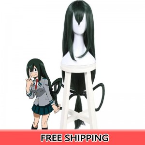My Hero Academia Tsuyu Asui Anime Cosplay Wigs Dark-Green Long Hair wigs