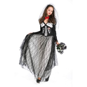 Fancy Halloween Dress of Vampire And Ghost Couples Of Skull Skeleton