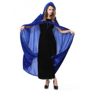Blue Long Witch Cloak Sexy Halloween Cosplay Costume Wonderful Style